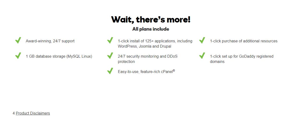 plan list of inclusions GoDaddy