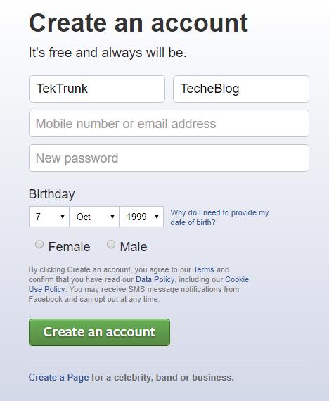 Facebook Sign up Steps